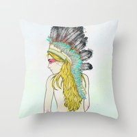 hunting Throw Pillows featuring Hunting // by Lukka