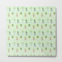 Modern pastel green pink trendy cactus floral pattern Metal Print