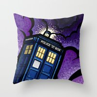 tardis Throw Pillows featuring Tardis by Jelly Soup Studios