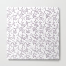Mauve Vintage-Style Lily-of-the-Valley Pattern Metal Print