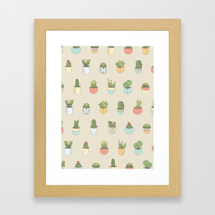 Cute Succulents Framed Art Print