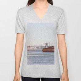 Staten Island Ferry to Manhattan Unisex V-Neck