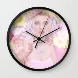 Rose in the magic forest Wall Clock