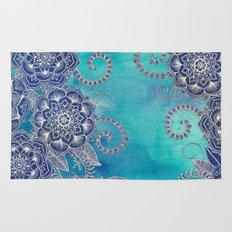 Mermaid's Garden - Navy & Teal Floral on Watercolor Rug