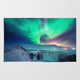 Aurora Borealis Over A Waterfall Rug