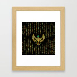 Egyptian Horus Falcon gold and color crystal Framed Art Print