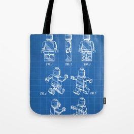 Legos Patent - Block Man Art - Blueprint Tote Bag