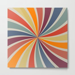 Spiral Stripe Retro Rainbow Metal Print