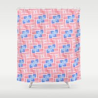 american flag Shower Curtains featuring American Flag by Mari Orr (@meandering_mari)