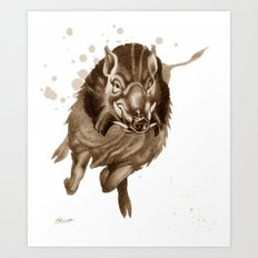 Don't Mess With Me : Charging Boar Art Print