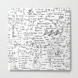 Physics Equations on Whiteboard Metal Print