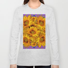 YELLOW SUNFLOWERS ON PURPLE PATTERN DESIGN Long Sleeve T-shirt