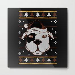 Pitbull Ugly Christmas Sweater Dog Design Metal Print