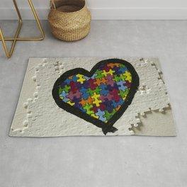 Autism Awareness Heart Rug