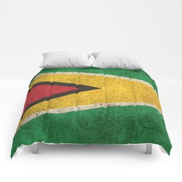 Old and Worn Distressed Vintage Flag of Guyana Comforters