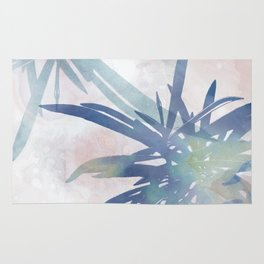 Navy Blue and Blush Pink Palm Leaf Watercolor Painting Rug