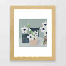 Flowers on the table spring blooms helebores Framed Art Print