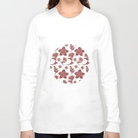 batik Long Sleeve T-shirts featuring The Burgundy Batik Flowers by haidishabrina