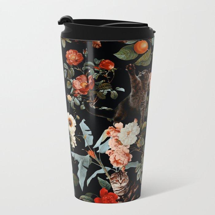 Cat and Floral Pattern II Metal Travel Mug
