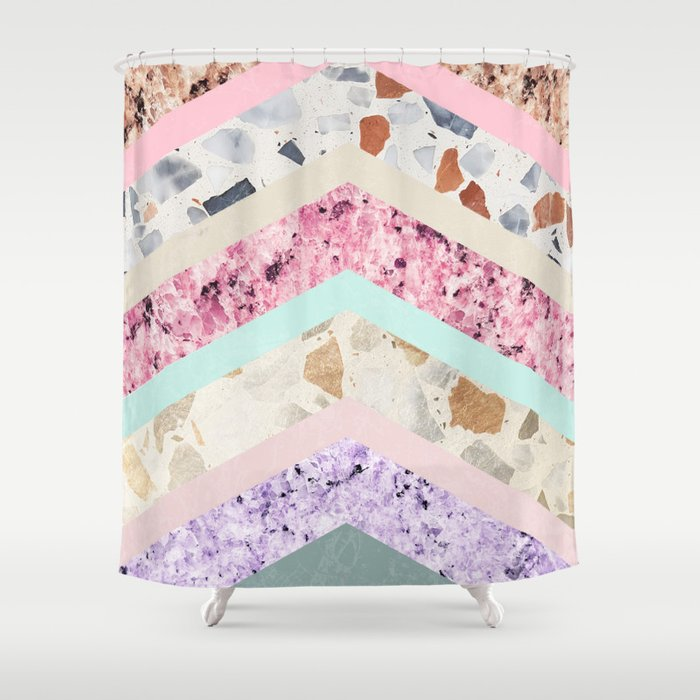 Modern Pastel Pink Lavender Color Block Marble Chevron Shower Curtain