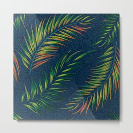 Neon Palm Fronds -  Distressed Metal Print