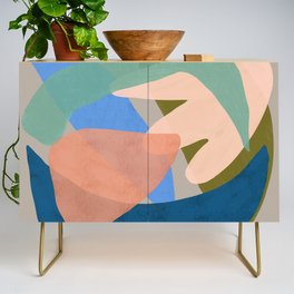 Shapes and Layers no.30 - Large Organic Shapes Blue Pink Green Gray Credenza