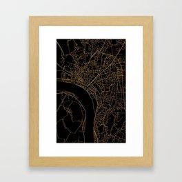 Vientiane map, Laos Framed Art Print