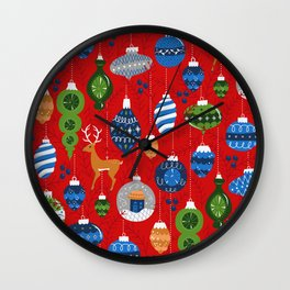 Holiday Ornaments in Red + Blue + Green Wall Clock