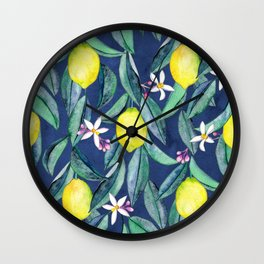 When Life Gives You Lemons - blue Wall Clock