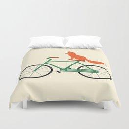 Fox Riding Bike Duvet Cover