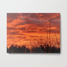 Fiery sunset on nature forest Metal Print