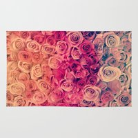 roses Area & Throw Rugs featuring Roses by Msimioni