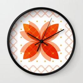 Orange Integration Pattern 3 Wall Clock