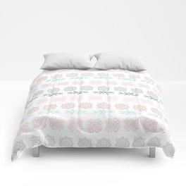 Pastel pink green hand painted scandinavian geometrical Comforters