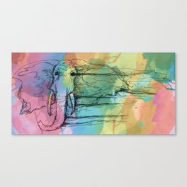Watercolor for Elephants. Canvas Print