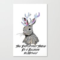 jackalope Canvas Prints featuring Jackalope by andyroosky