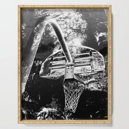 Black And White Basketball Art Serving Tray