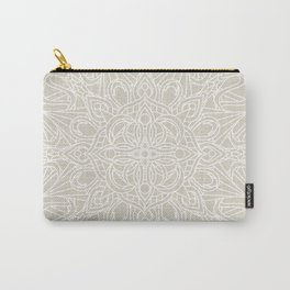 White Lace Mandala on Antique Ivory Linen Background Carry-All Pouch