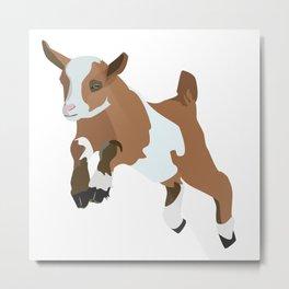 Baesic Prancing Goat (Brown) Metal Print