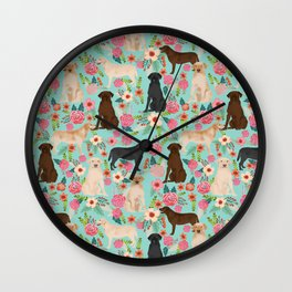Labrador Retriever dog breed floral pattern for dog lover chocolate lab golden retriever labradors Wall Clock