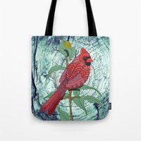 virginia Tote Bags featuring Virginia Cardinal by ArtLovePassion