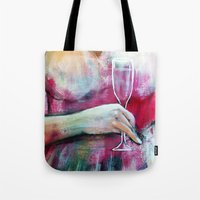 champagne Tote Bags featuring Champagne by By Malino