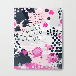Jiri - Abstract painting in modern fresh colors navy, blush, cream, white, and gold decor girly Metal Print
