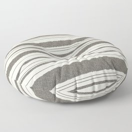 Textured Mesh Stripes in Black and Almond Cream  Floor Pillow