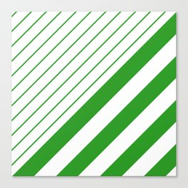 Green And White Stripes Pattern Canvas Print