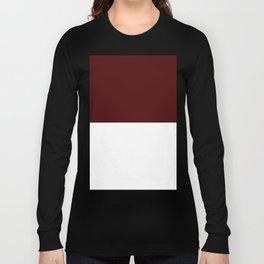 White and Bulgarian Rose Red Horizontal Halves Long Sleeve T-shirt