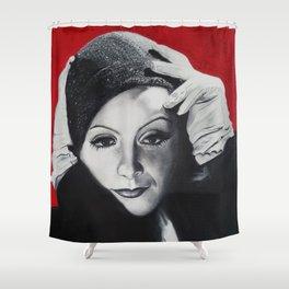 Greta Garbo v červené Shower Curtain