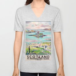 Scotland Vintage Travel Poster Unisex V-Neck