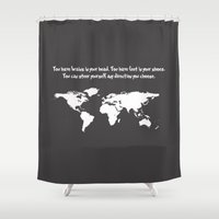 dr seuss Shower Curtains featuring You have brains in your head... Dr. Seuss by Dustin Hall