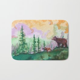 Black Bear and Cubs in Pine Forest Bath Mat